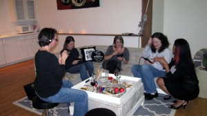 Tracy, Angelica, Carly and Allison at the Rhythm Game Station with Brand Enthusiast helper Kat.