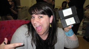 Aimee demonstrates her enthusiasm for her VERY OWN DSi.