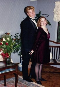 My Mom made my dress. Years later I used the velvet to make a throw pillow. That's called RECYCLING.